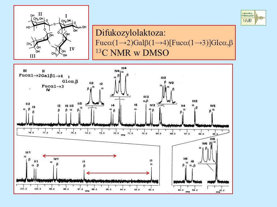 Difukozylolaktoza: Fuca(1→2)Galb(1→4)[Fuca(1→3)]Glca,b 13C NMR w DMSO